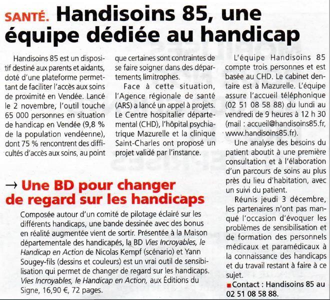 Article sur Handisoins dans le journal du Pays Yonnais.